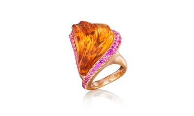 Citrine Ring hand-carved citrine, pink sapphires, 18K yellow gold