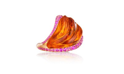 Citrine Ring. Hand-carved citrine, pink sapphires, 18K yellow gold