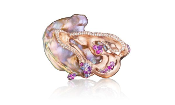 Flat Pearl Brooch Natural Chinese freshwater pearl, VS-FG white diamonds, multicolred sapphires, platinum,18K peach gold