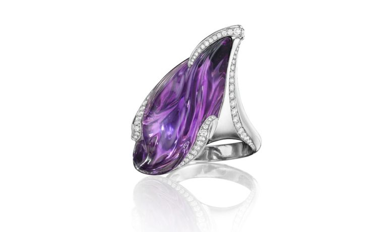 Amethyst Platinum Ring 27.2 ct hand-carved amethyst, 0.47 ct white diamonds, platinum. Size 7.