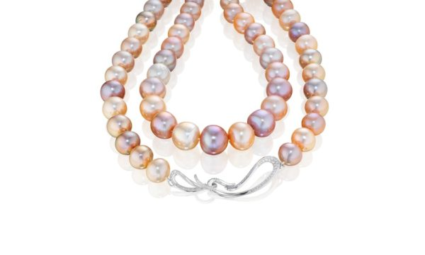 Night at the Opera Pearls with Signature White Gold and Diamond Clasp single strand of roundish peach, pink, and purple chinese freshwater pearls with signature 18K white gold and white VS-F-G white diamond clasp (appx. 1.5 ct)