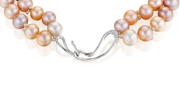 Night at the Opera Double Strand Pink Pearl Necklace (Clasp Detail)