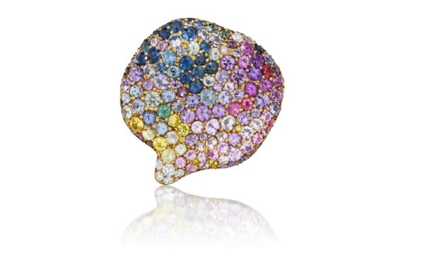 Petal Ring 175 assorted multicolored diamonds, sapphires, amethysts, and 18K yellow gold.