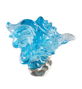 Blue Topaz Carving on silver base
