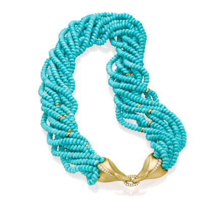 Multi-strand Turquoise Necklace with Diamonds set in 18K Gold beads