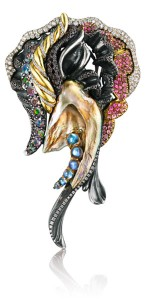 Queen of the Sea Brooch GIA certified Freshwater Pearls, Black Diamonds and Multicolored Sapphires
