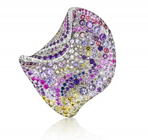 Pink Petal Muticolored sapphires and diamonds Naomi Sarna New York
