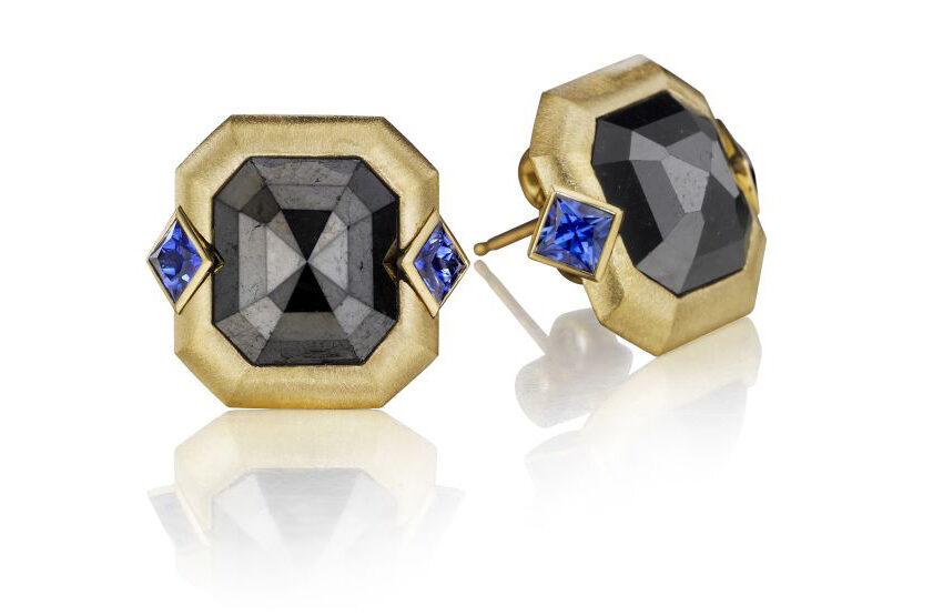 Black Diamond Blue Sapphire Earrings