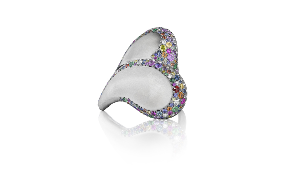 AGTA WJA Gem Diva Award-winning Confetti Heart Ring