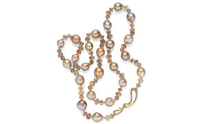 Pearl Sunstone Diamond Gold Necklace