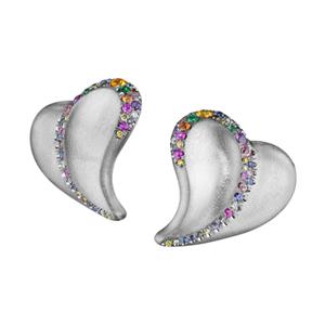 18K White Gold Confetti Heart Earrings