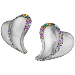 18K White Gold Confetti Heart Earrings