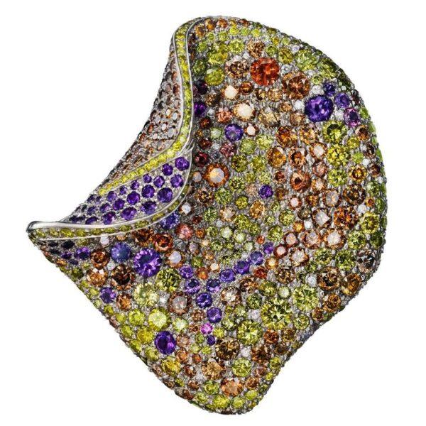 Sapphire Diamond Amethyst Gold Petal Brooch Main