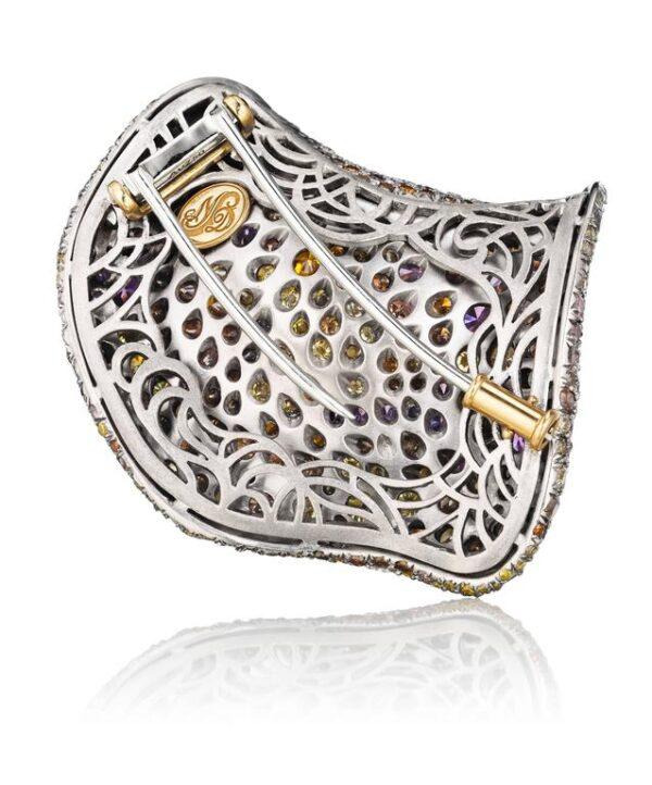Sapphire Diamond Amethyst Gold Petal Brooch Back