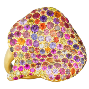 Autumn Petal Ring Gold and Colored Gemstones