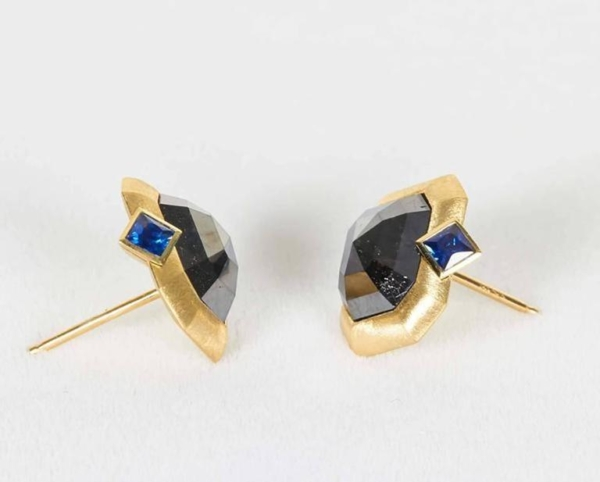 Blue Sapphire Black Diamond Gold Earrings Top | Midnight Blue Earrings