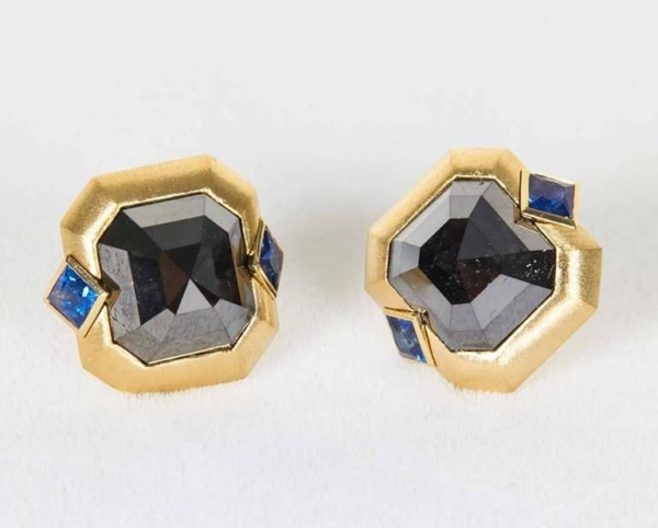 Blue Sapphire Black Diamond Gold Earrings Top Main | Midnight Blue Earrings