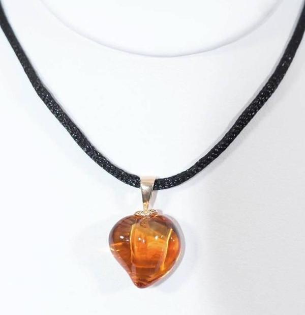 Carved Citrine Heart Pendant Manikin   Citrine Heart Pendant