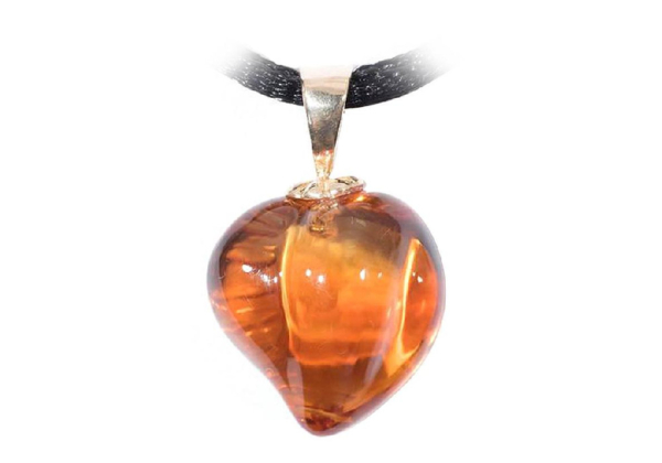 Carved Citrine Heart Pendant