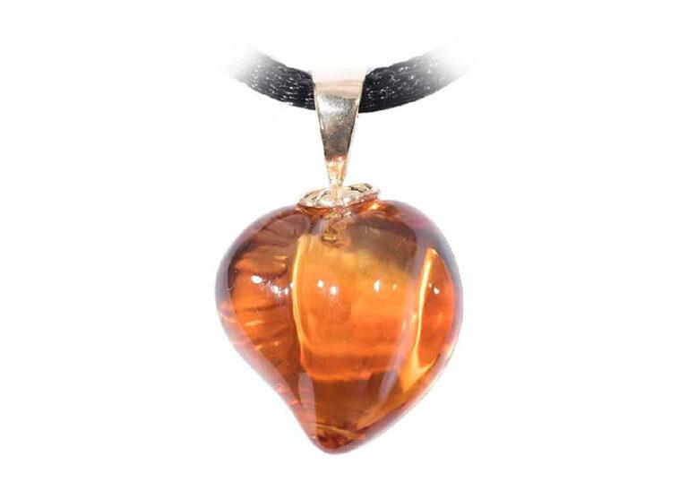Carved Citrine Heart Pendant