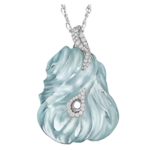 Exceptional Hand-Carved Aquamarine Diamond Gold Pendant