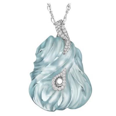 Exceptional Hand-Carved Aquamarine Diamond Gold Pendant