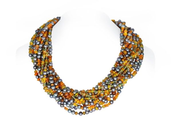 Fire Opal Pearl Necklace New master | Savanna Sunset