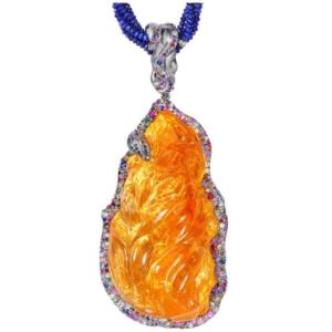 Fire Opal Pendant close