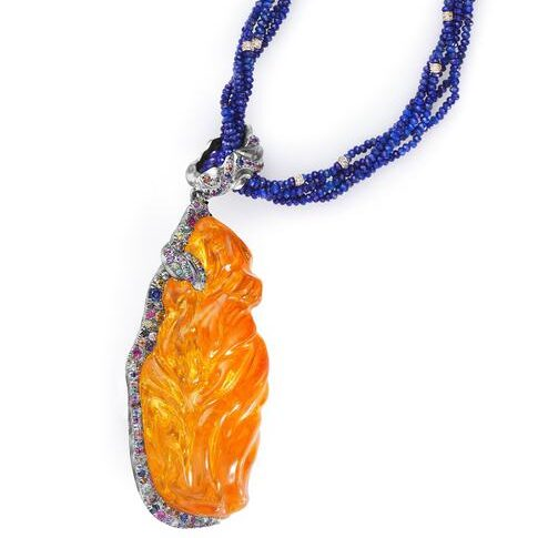 Fire Opal Pendant Profile Detail