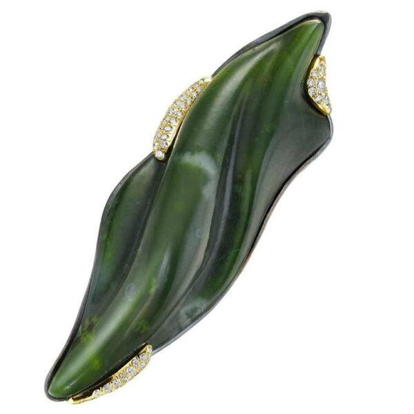 Hand Carved Nephrite Jade Diamond Gold Brooch Main | Leafy Garden Winter Brooch
