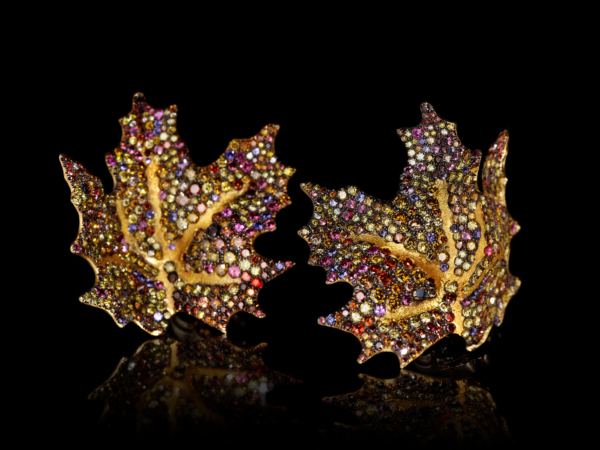 Naomi Sarna Maple Leaf Gold Earrings with Multicolored Diamonds Sapphires - 18k Gold