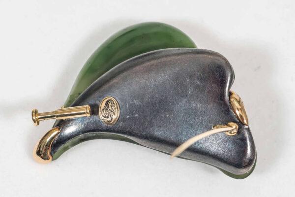 Nephrite Jade Diamond Silver Gold Brooch Back | Leafy Garden Spring Brooch