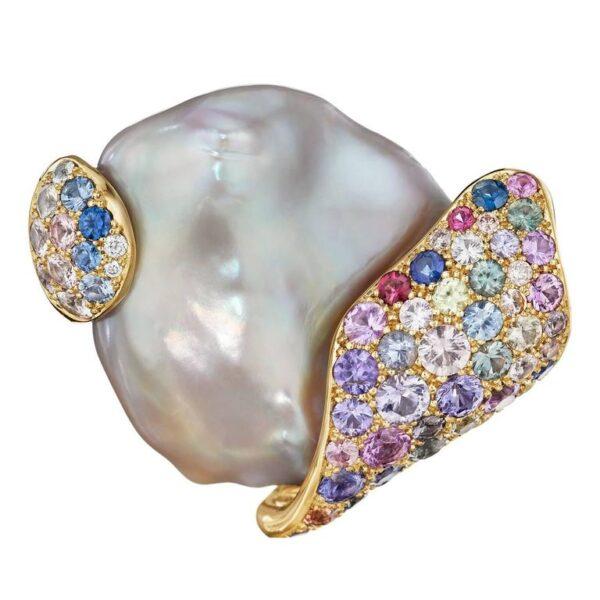 Pearl Sapphire Diamond Gold Brooch Main