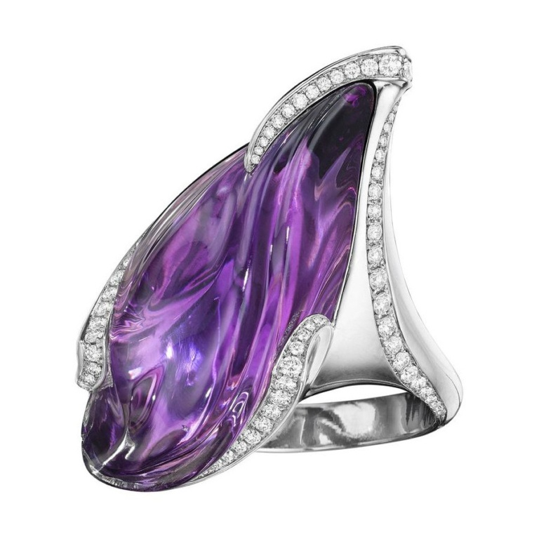 Purple Twilight Amythyst Diamond White Gold Cocktail Ring Naomi Sarna