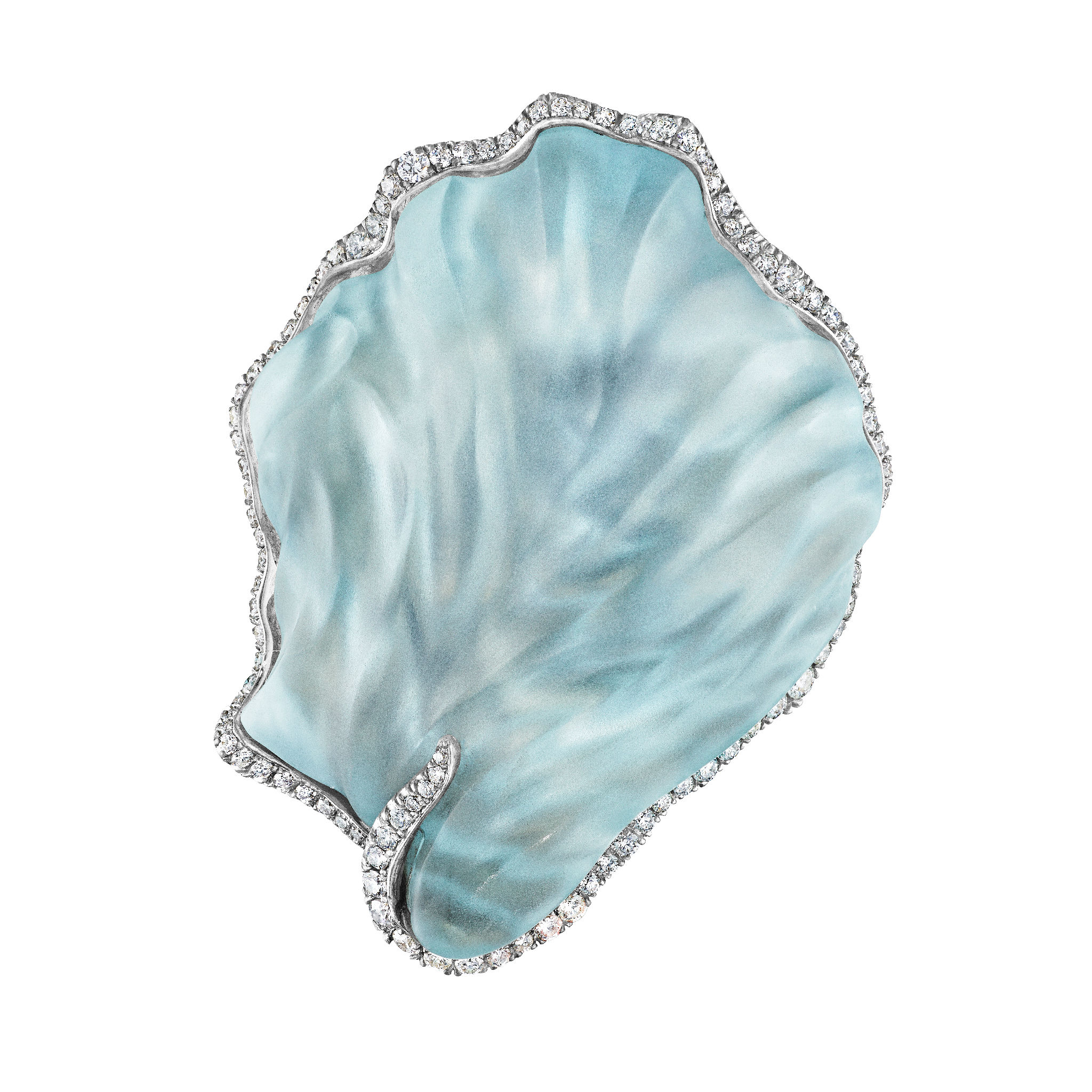 Aquamarine Shell Brooch Naomi Sarna 80 carat Aquamarine Hand-carved Diamonds-18k Gold