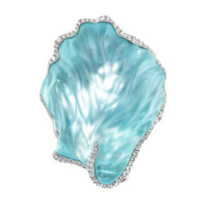 Aquamarine Carved Brooch