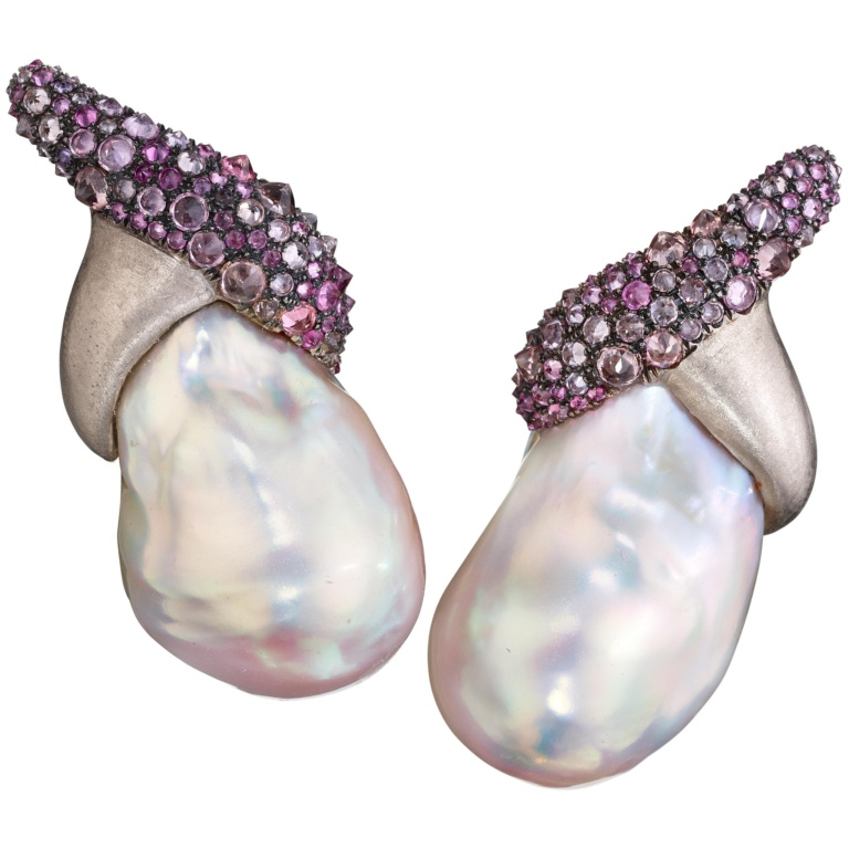 Pearl Turban Earrings - Sapphires - Diamonds-18K Gold - Naomi Sarna
