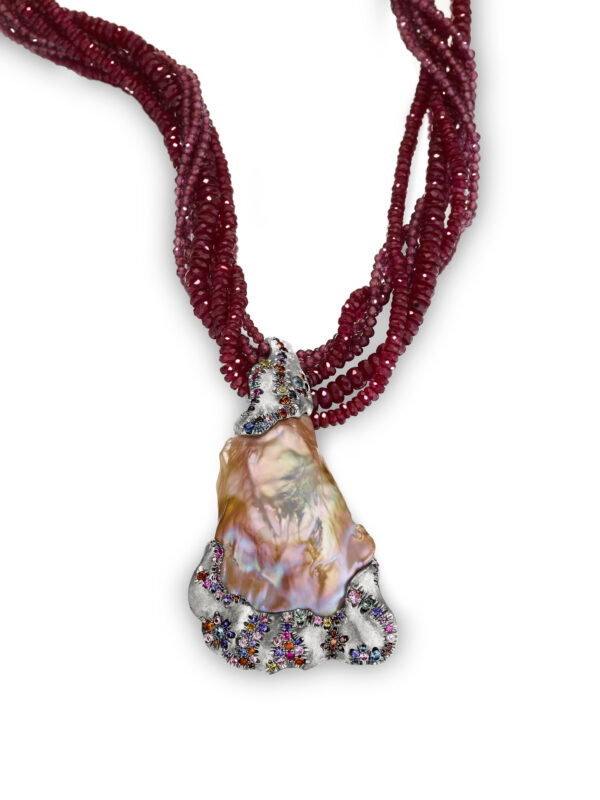The Contessa Ruby and Pearl Necklace Straight
