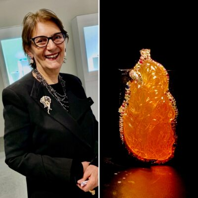 Naomi Sarna debuts at Wilensky, Fire Empress Pendant -  Fire Opal on display