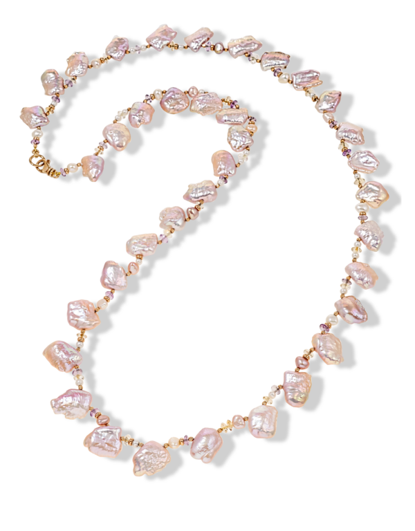 Pink Peony Pearl Necklace