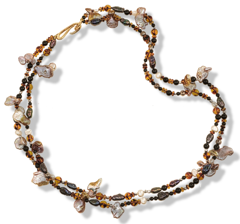 Sirens Song Keshi Pearl Onyx Necklace