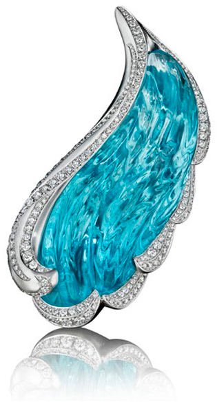 Angel Wing Aquamarine and Diamond Brooch Naomi Sarna