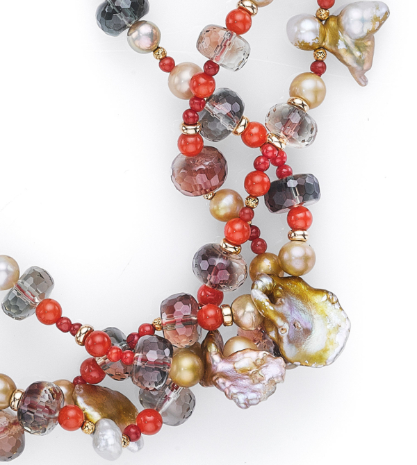 Setting Sun Pearl Necklace - Cornflake, Red Coral, Sunstone Section