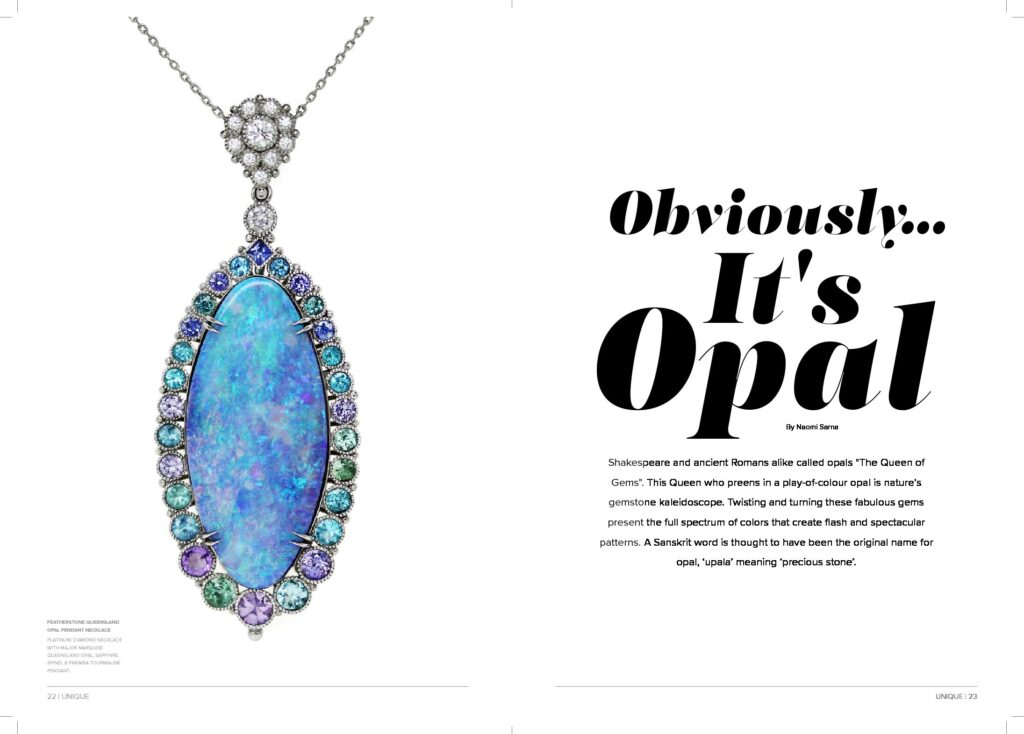 Unique Private Jet Magazine Article on Opal Designer Jewelry by Naomi Sarna
