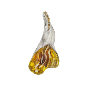 Helios Yellow Tourmaline and Diamond Pendant