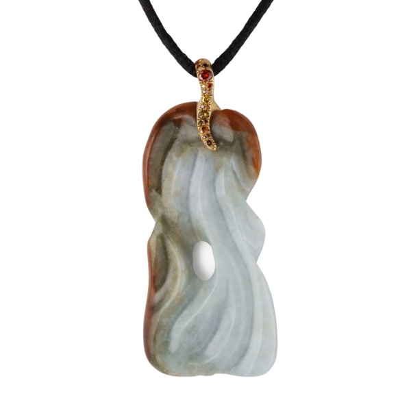 Jade Art Nouveau Pendant-Diamonds-18k Gold-Naomi Sarna