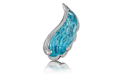 Angel Wing Brooch Aquamarine and Diamond