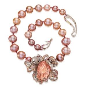 Camellia Necklace - 90 carat Pink Topaz - Sapphires - Diamonds - Garnet - Zircon - Pearls -18k Gold- Naomi Sarna