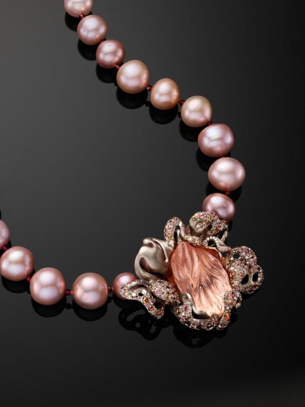 Camellia Necklace- 90 carat Pink Topaz- Sapphires- Diamonds- Garnet- Zircon- Pearls- 18k Gold- Naomi Sarna