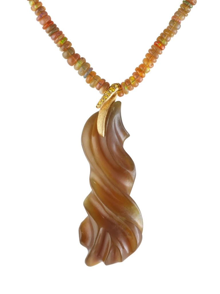 Honey Jade Pendant - Diamonds - Opal Necklace-18k Gold - NaomiSarna